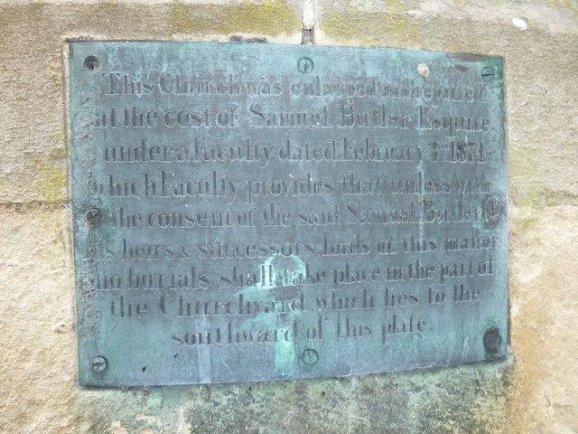 Combe Hay Church: external memorial