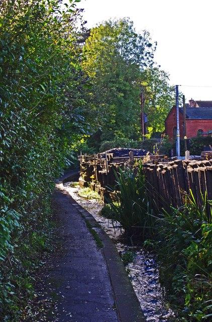 Pudding Brook and footpath, Cleobury Mortimer, Shrops