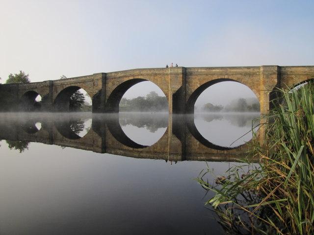 Chollerford Bridge on the river North Tyne