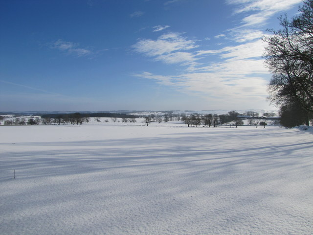 Snow covered fields near Cambo in Northumberland