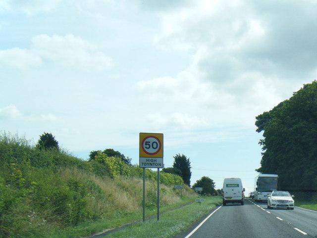 A158 eastbound at High Toynton village boundary