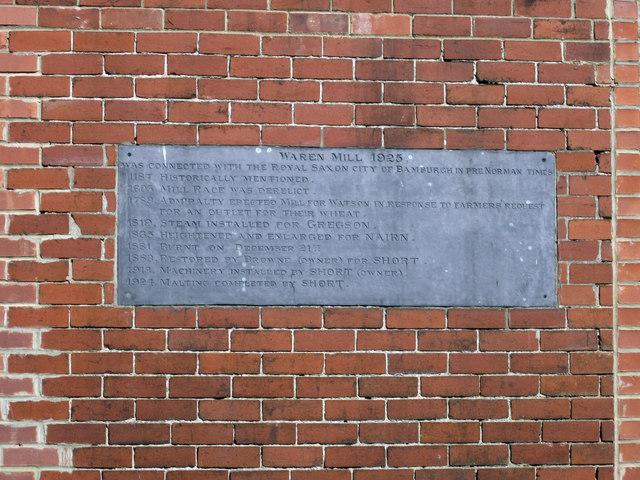 Plaque in wall, Waren Mill