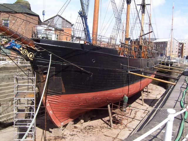 Sailing ship under repair
