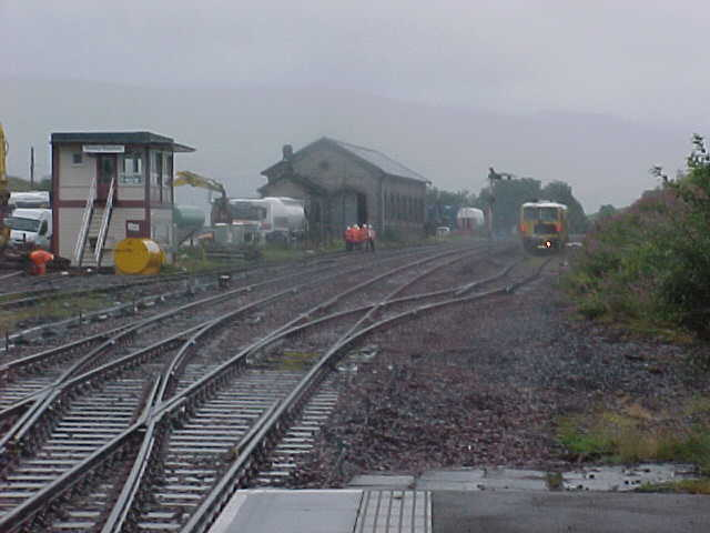 Signal box, goods shed and sidings at Kirkby Stephen