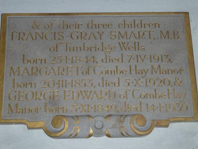 Combe Hay Church: memorial (9)