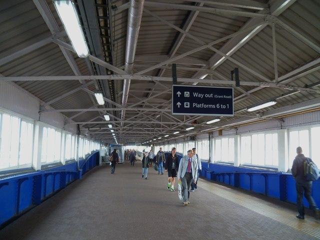 Pedestrian walkway at Clapham Junction station
