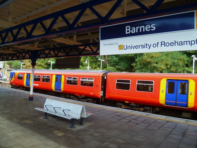 Looking across the platforms on Barnes station