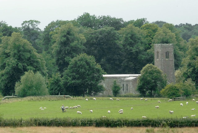 Pasture and church by Wistow, Leicestershire