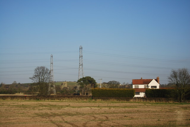 Pylons seen from the West Coast Main Line