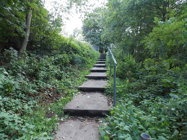Steps up to the A467 in Blaina