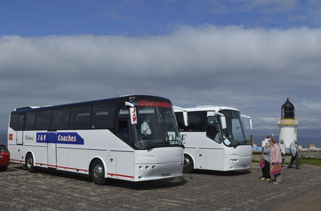 Coaches from P&O's Adonia, parked at Dunnet Head