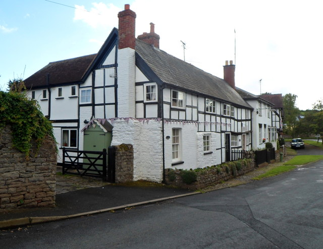 Black and white cottages in Bell Square, Weobley