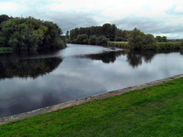 Confluence of the river Aire and river Calder at Castleford West Yorkshire