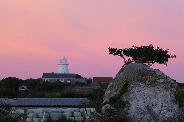 Pink sky over the lighthouse