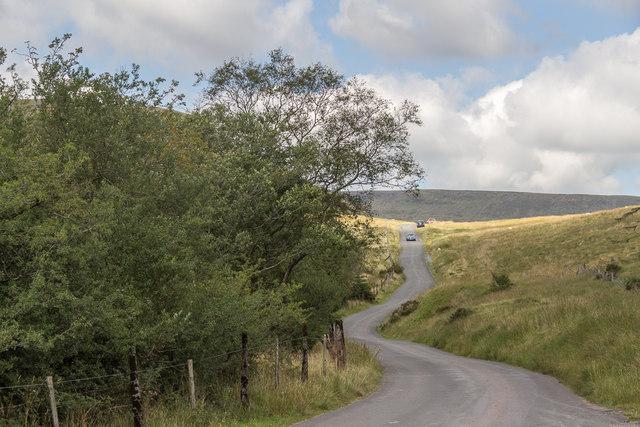 Mountain Road over Brecon Beacons near Blaen-y-glyn