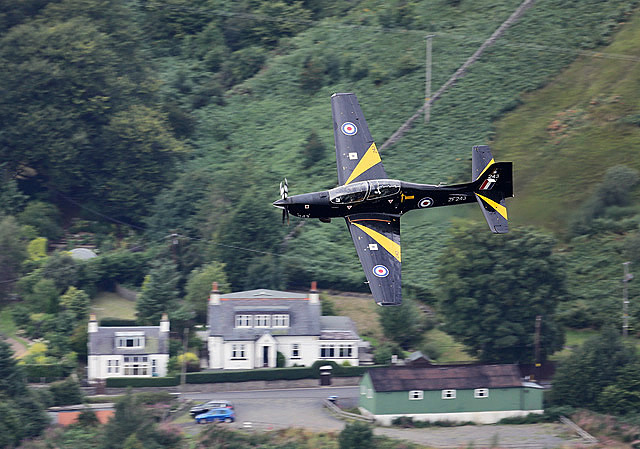 An RAF Tucano flying by Cappercleuch