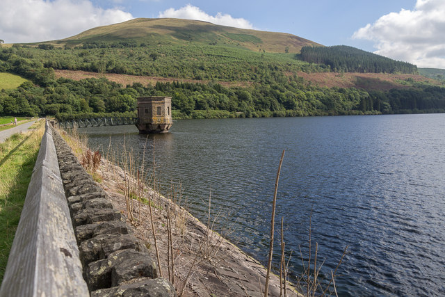 Dam at Talybont Reservoir, Brecon Beacons, Wales