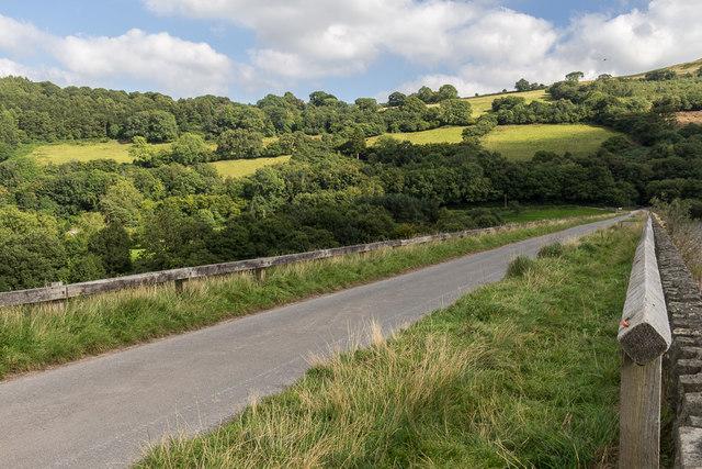 Road across Dam, Talybont Reservoir, Brecon Beacons, Wales
