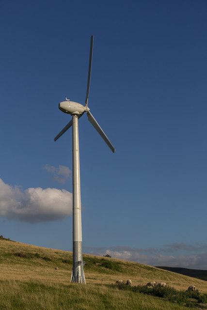 Wind Turbine on Farmland near Cregrina, Powys