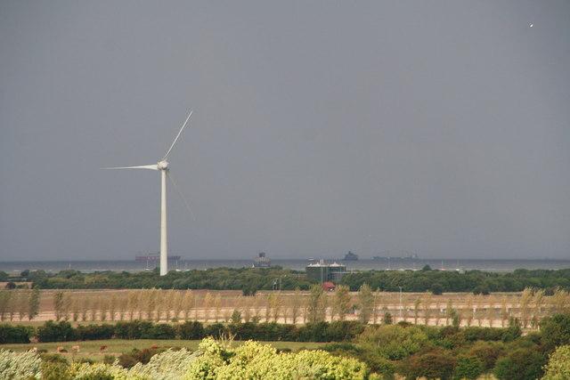 Newton Marsh sewage treatment plant and wind turbine