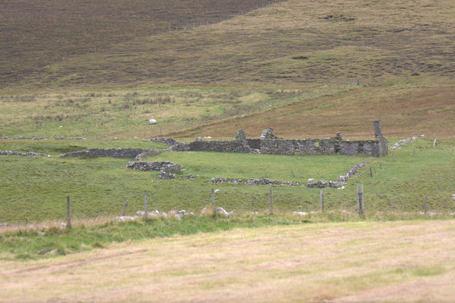 Ruined croft house beside the Burn of Baliasta
