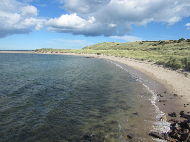 Looking along the coast from the old pier on the south side of Budle Bay