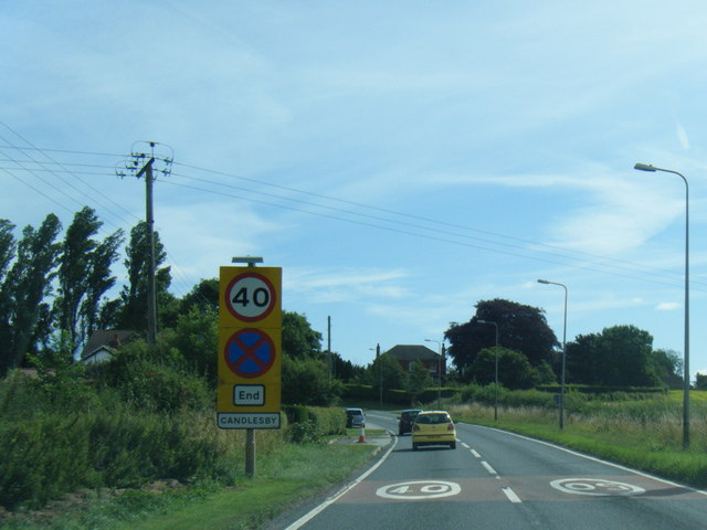 A158 at Candlesby village boundary