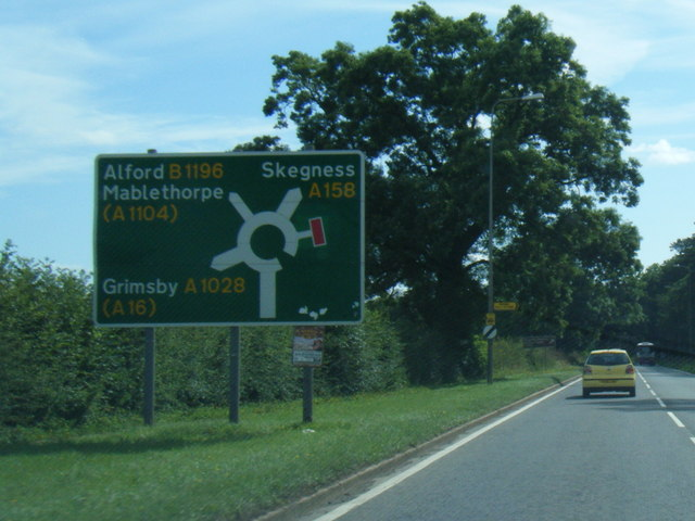 A158 nearing Gunby Roundabout