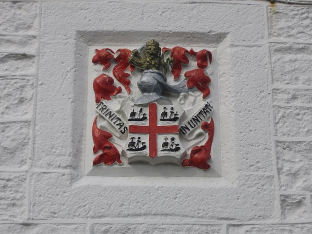Trinity House coat of arms on lighthouse at Blackrocks Point, Bamburgh