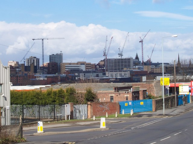 Cranes over Sheffield in March 2008