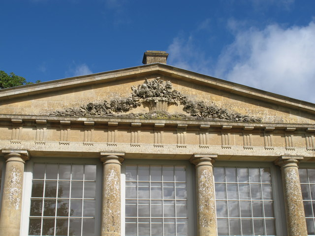 Croome Park, carving on temple greenhouse pediment