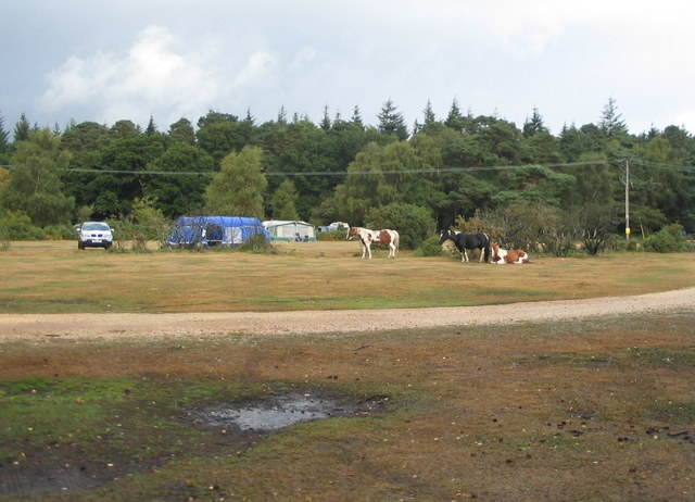 Ponies and tents, Roundhill campsite