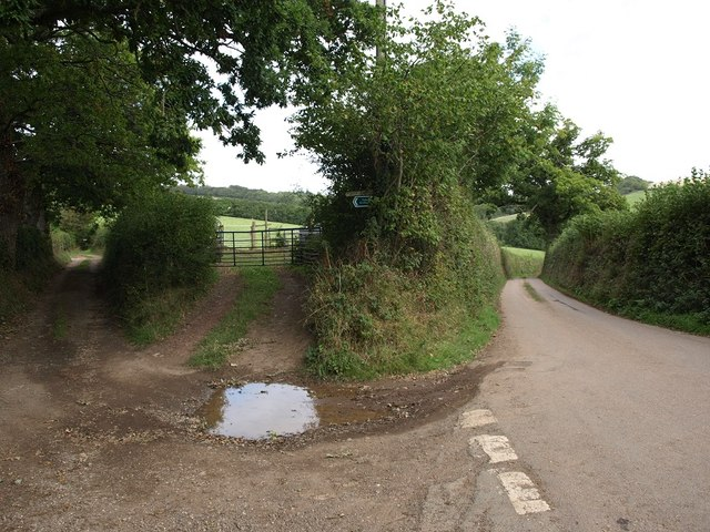 Road, farm gate and farm track at Sexton's Cross