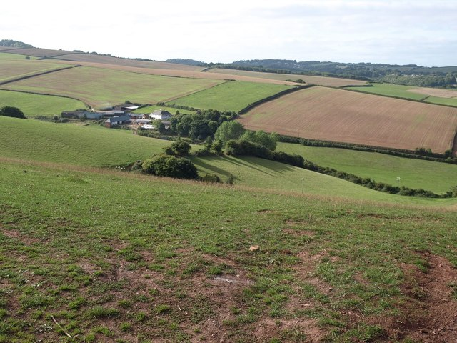 Looking towards Whiddon Farm from the road from Idestone Cross