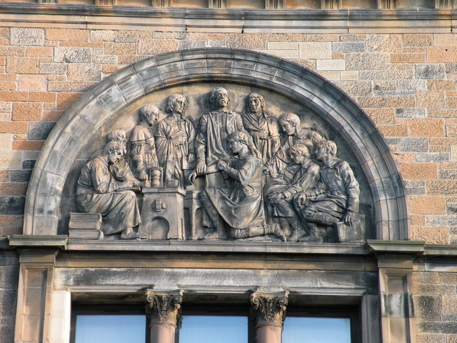 Tympanum relief group on former Anderson's Medical College