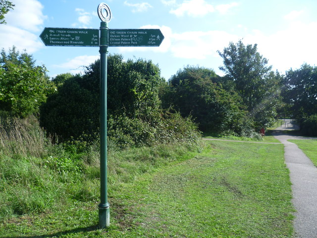 Green Chain Walk sign on East Wickham Open Space