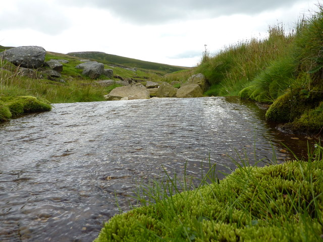 Hebden Beck, flowing over a flat stone slab