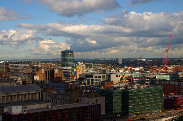 Birmingham skyline featuring Bull Ring Rotunda