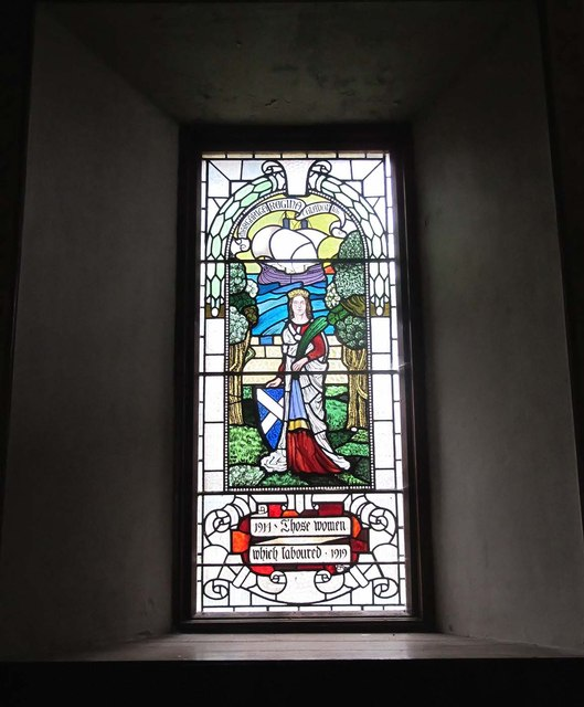 Stained glass window in Tibbermore Church
