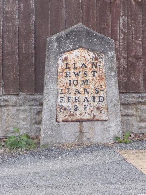 Llansanffraid Glan Conwy: milestone on Llanrwst Road