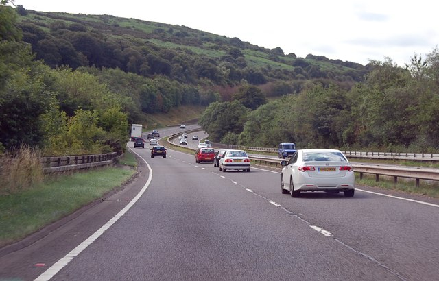A30 curving south west of Okehampton