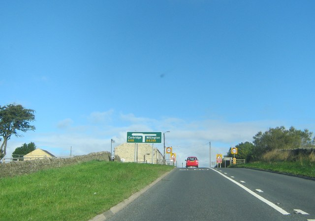 The A68 northbound about to pass Park Terrace