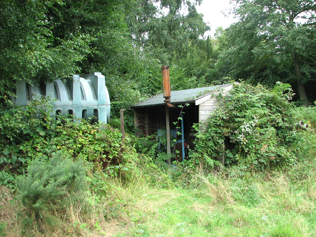 Disused pump house in Barningham Green Plantation
