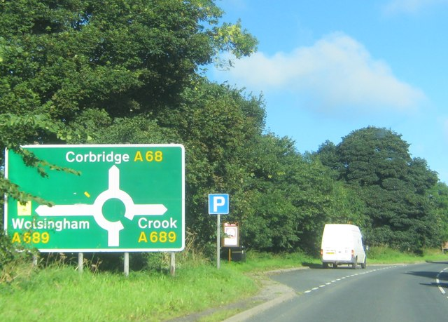 Layby on the northbound side of the A68