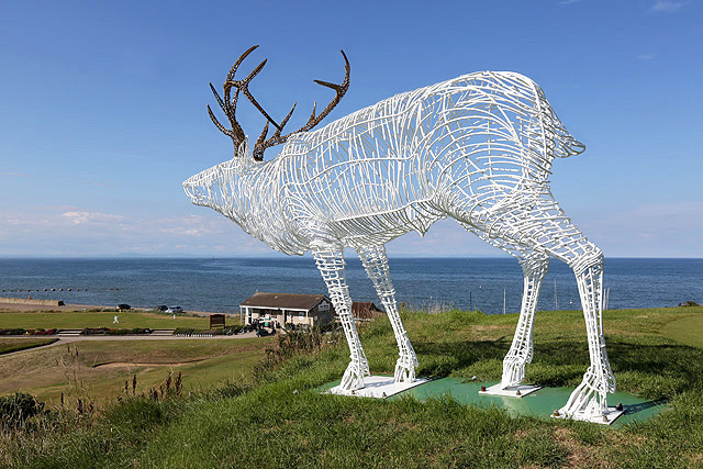 A stag sculpture overlooking Moray Golf Course, Lossiemouth