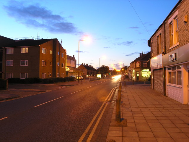 Station Road in Forest Hall, late on a summer evening