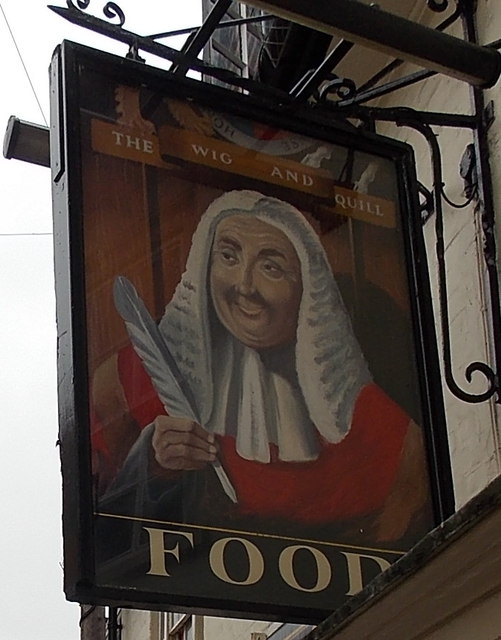 The Wig and Quill name sign, Salisbury