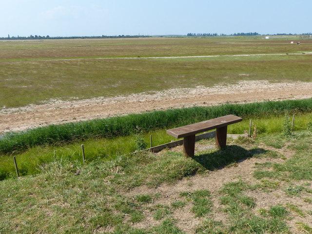Bench overlooking RSPB Frampton Marsh reserve