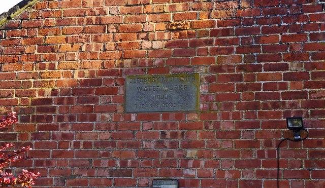 Cleobury Mortimer Scouts & Guides HQ (former Water Works) (2) - dedication stone, Cleobury Mortimer, Shrops