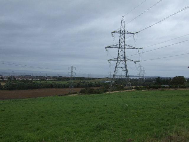 Farmland and pylons near Tranent